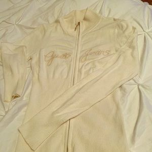 Guess Jeans Ivory Zip Up Medium